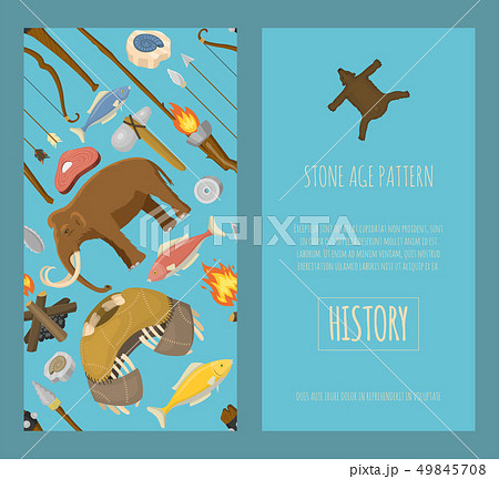 Stone age primitive prehistoric life set of banners vector illustration. Ancient tools and animals 49845708