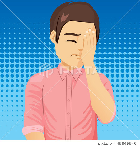 Sad frustrated man making facepalm gesture 49849940