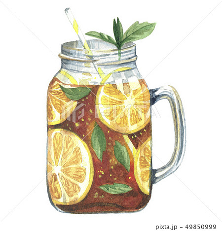Watercolor illustration tea in mason jar 49850999