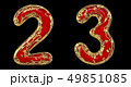 Number set 2, 3 made of realistic 3d render golden shining metallic. Collection of gold shining 49851085