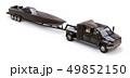 Black truck with a trailer for transporting a racing boat on a white background. 3d rendering. 49852150