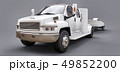 White truck with a trailer for transporting a racing boat on a grey background. 3d rendering. 49852200