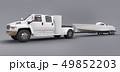 White truck with a trailer for transporting a racing boat on a grey background. 3d rendering. 49852203
