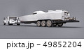 White truck with a trailer for transporting a racing boat on a grey background. 3d rendering. 49852204