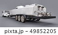 White truck with a trailer for transporting a racing boat on a grey background. 3d rendering. 49852205