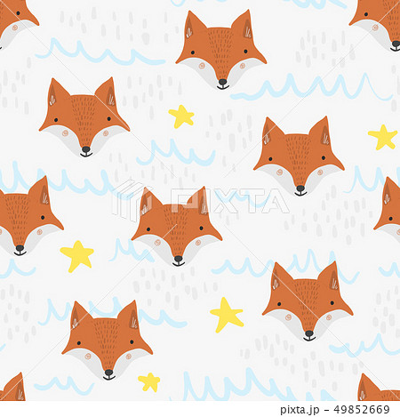 Cute cartoon pattern with foxs, stars and waves 49852669