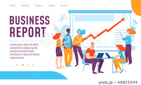 Vector concept business report creative business illustration with working people.  49855044