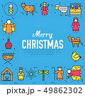 Merry Christmas thin line icons flat set background. Outline birth of Christ illustration background 49862302