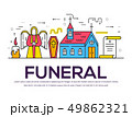 Cemetery with different graves and small Christian church in sunny day. Layout modern vector 49862321