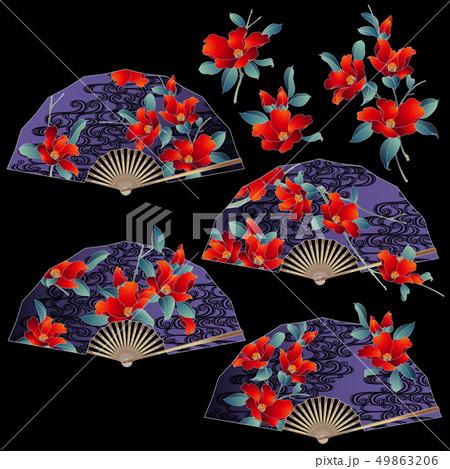 花柄扇子のイラスト, 49863206