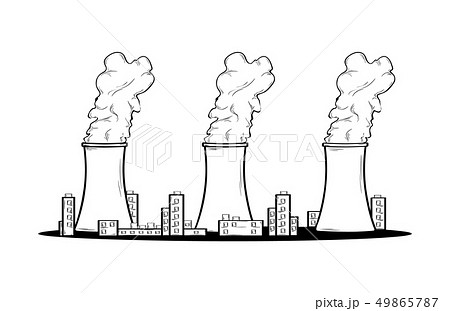 power factory and three chimneys with smoke 49865787