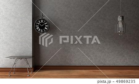 Empty room with fan on wooden floor 49869235