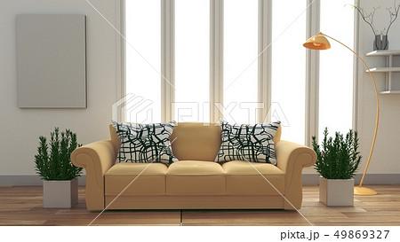 Modern room interior with yellow sofa 49869327
