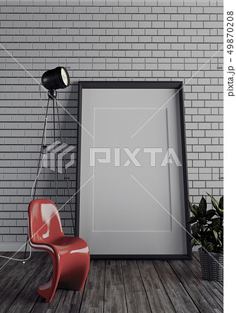 Frame and lamp on brick wall. 3D rendering 49870208