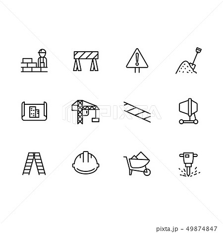 Simple set symbols building construction and engineering line icon. Contains such icon brick wall 49874847