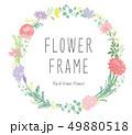 花 フレーム リースのイラスト 49880518