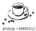 線画5:コーヒーとコーヒー豆のイラスト 49882211