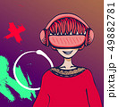 Young man with virtual reality headset on colorful abstract background. VR and cartoon character 49882781