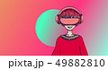 Young man with virtual reality headset on colorful abstract background. VR and cartoon character 49882810