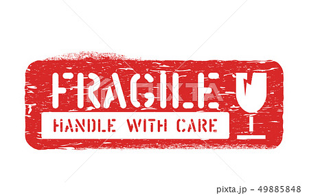 Fragile, Handle with care rubber cargo box sign for delivery, logistics isolated on white background 49885848