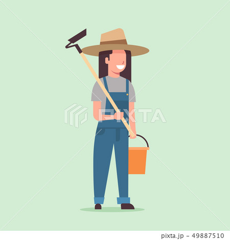 female gardener holding hoe and bucket country woman working in garden gardening eco farming concept 49887510