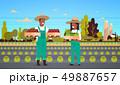 女性 農夫 農家のイラスト 49887657
