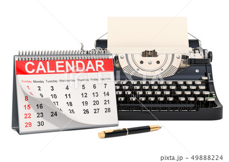 Desk Calendar with typewriter, 3D rendering 49888224