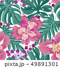 Tropcal flower and palm leaves tile summer pattern 49891301