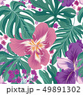 Tropcal flower and palm leaves tile summer pattern 49891302