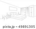 Bedroom furniture interior. Room line sketch 49891305