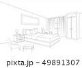 Bedroom furniture interior. Room line sketch 49891307