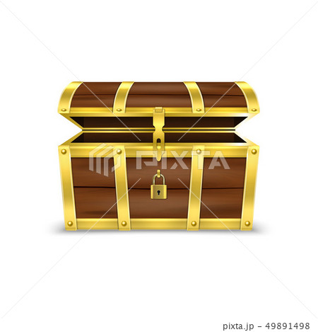 Vector 3d Realistic Opened Empty Retro Vintage Antique Old Treasure Wooden brown Pirate Dower Chest 49891498