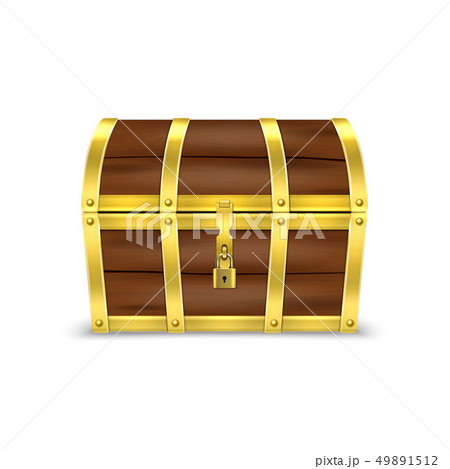 Vector 3d Realistic Closed Retro Vintage Antique Old Treasure Wooden brown Pirate Dower Chest with 49891512