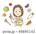 栄養士 野菜 指さし 上半身 49895142