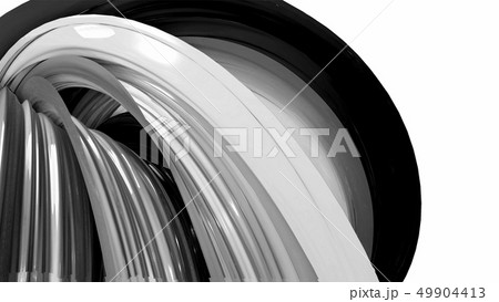 Black and white twisted plastic stripes with beautiful highlights. 49904413