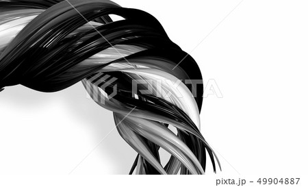 Black and white twisted plastic stripes with beautiful highlights. 49904887