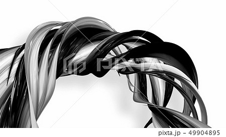 Black and white twisted plastic stripes with beautiful highlights. 49904895