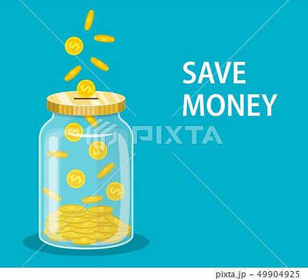 Money Jar. Saving dollar coin in jar. 49904925