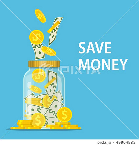 Money Jar. Saving dollar coin in jar. 49904935