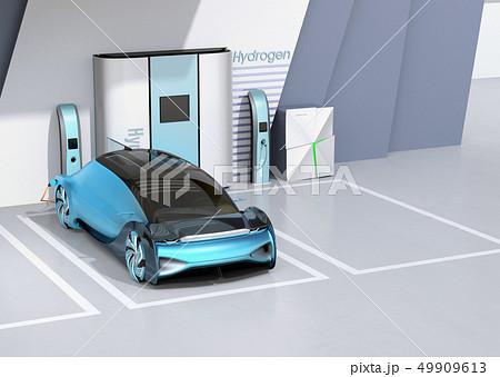 水素ステーションに水素ガスを充てんしている自動運転FCVのイメージ 49909613