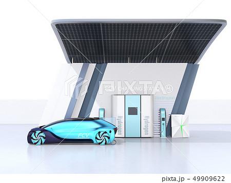 ソーラーパネルが備えている水素ステーションに水素ガスを充てんしている自動運転FCVのイメージ 49909622