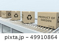 Cartons with PRODUCT OF SWEDEN text on roller conveyor. Swedish import or export related 3D 49910864