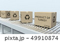 Cartons with PRODUCT OF TURKEY text on roller conveyor. Turkish import or export related 3D 49910874