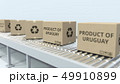 Boxes with PRODUCT OF URUGUAY text on roller conveyor. Uruguayan import or export related 3D 49910899