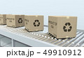 Boxes with PRODUCT OF USA text on roller conveyor. American import or export related 3D rendering 49910912