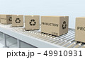 Boxes with PRODUCTION text on roller conveyor. 3D rendering 49910931