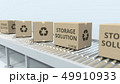 Boxes with STORAGE SOLUTION text on roller conveyor. 3D rendering 49910933