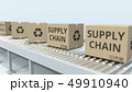 Boxes with SUPPLY CHAIN text on roller conveyor. 3D rendering 49910940