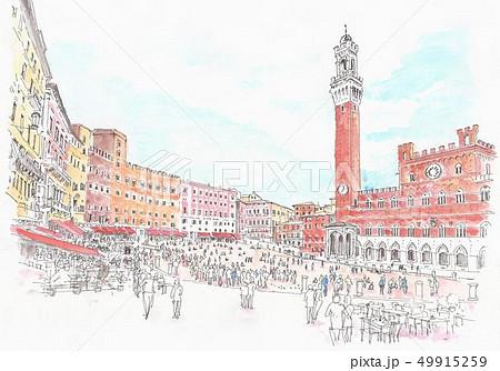 世界遺産の街並み・イタリア・シエナ・カンポ広場 49915259