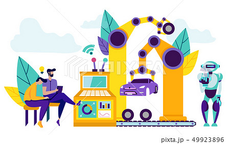 Smart Robots on Production Line For Car Assembly. 49923896
